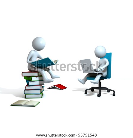 World of books and IT. Man is sitting at the blue chair with laptop and another is on the books with a book. Three-dimensional Shape, isolated on white.
