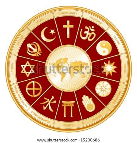 World of Faiths. 12 world religions in golden circle around world map, red BG: Buddhism, Islam, Hindu, Taoism, Christianity, Sikh, Native Spirituality, Confucian, Shinto, Baha'i, Jain, Judaism.