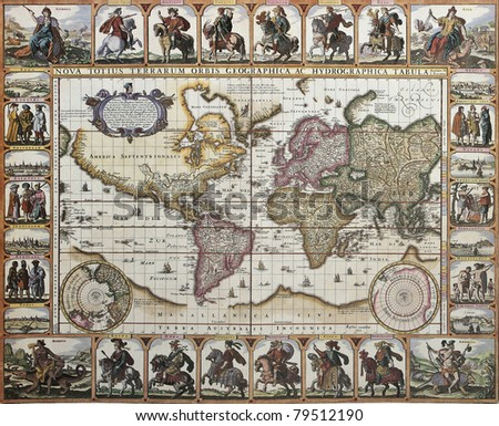 World old map. Created by Nicholas Visscher, published in Amsterdam, 1652