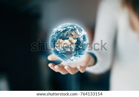 World on hand, environment or concept of future