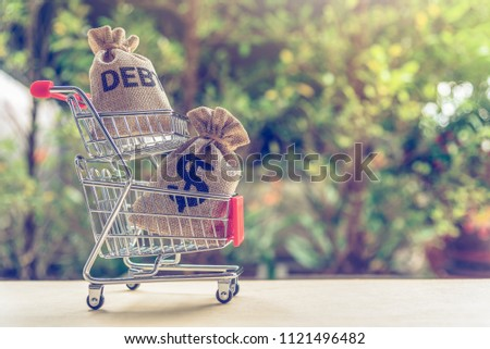 World or global / national debt crisis concept : Debt bag, US money / dollar bag in a shopping cart, depicts the government's fiscal profligacy, excessive expenditure or increase public spending.
