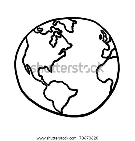 World Outline Illustration, Outline Drawing Of Planet Earth - 70670620