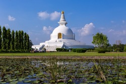 World Peace Pagoda in Lumbini, Nepal. Lumbini, the Birthplace of the Lord Buddha and The Eight Great Places.