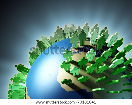 World population rise and Earth overcrowding. Digital illustration.