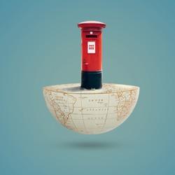 World Post Day, October 9, letter box, postbox,  International Postal Day, Greeting, Social media Posting, holiday celebration, red post box on world,