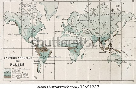 World rainfall map. By Paul Vidal de Lablache, Atlas Classique, Librerie Colin, Paris, 1894 #95651287