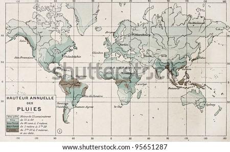 World rainfall map. By Paul Vidal de Lablache, Atlas Classique, Librerie Colin, Paris, 1894 #95651287