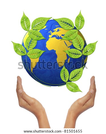world recycled paper craft stick on hand white background