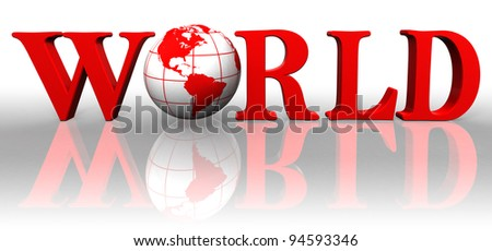 world red word and earth globe on white background