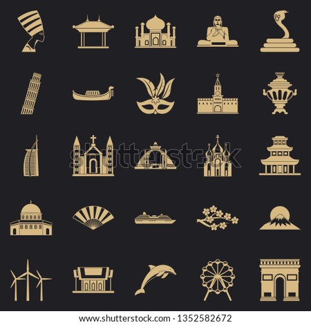 World religion icons set. Simple set of 25 world religion icons for web for any design
