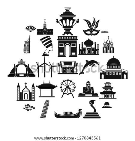 World religion icons set. Simple set of 25 world religion icons for web isolated on white background