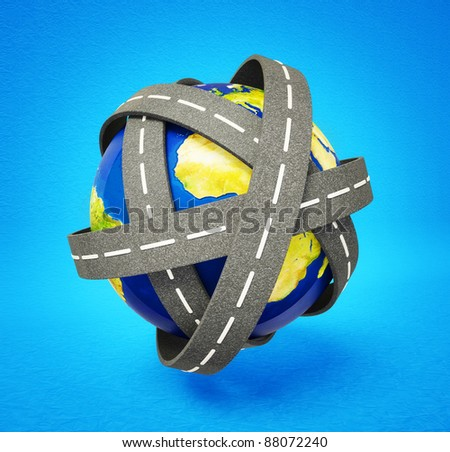 world road isolated on a blue background - stock photo