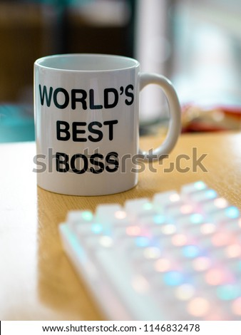 world's best boss mug near to colourful rgb keyboard #1146832478