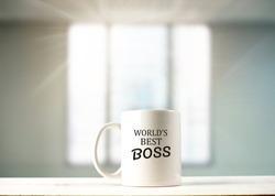 World's best boss text on coffee mug in coffeee