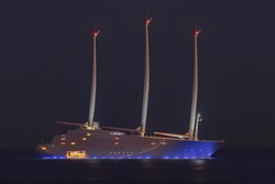 World's Largest Sailing Yacht named A, belonging to the Russian Billionaire Andrey Melnichenko anchored at night in Jaffa port Israel