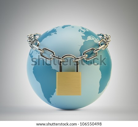 World security concept - Earth surrounded by a chain with a padlock
