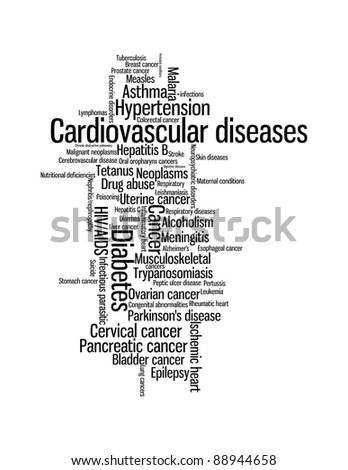 World sickness and diseases info-text graphics and arrangement word clouds concept