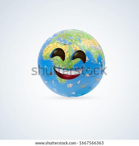 world smile emoji, International Day of Happiness, March 20, world happiness day, happiness day 3D randier,world happiness, happy world, Smiley face on earth, earth, global, Happy Children day, happy