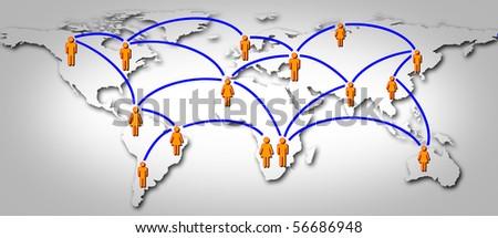 WORLD SOCIAL GLOBAL NETWORK - stock photo