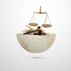 world social justice day, Judge balance with Law book on world, view from above, concept with text World Day of Social Justice, February 20, selected focus, narrow depth of field, social justice