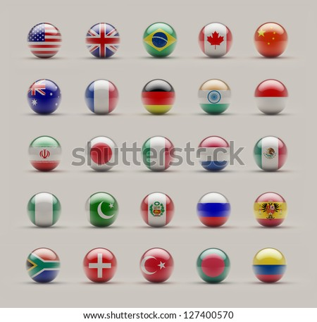 World Sphere Icon Flags on Studio shot