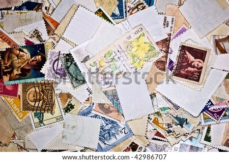 World Stamps; Communication/Mail Background Theme Stock Photo ...