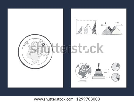 World statistics optimization visualization with bar and line graphs and pie charts representing data and Earth planet icon raster illustration on white