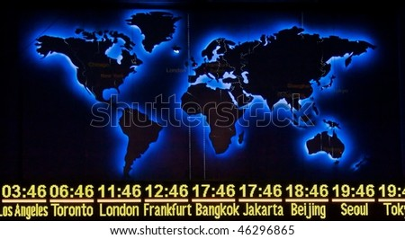 World Time display with Map in Night Version