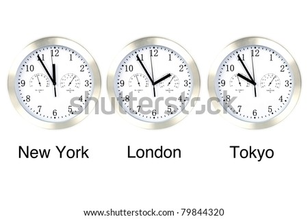 World time. Time in London, New York and Tokyo, three watches isolated on white.