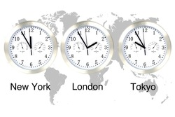 World time zones. Time in London, New York and Tokyo, three watches against grey world map.