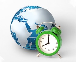 World timezones concept. Green alarm clock and world globe on white background, creative collage