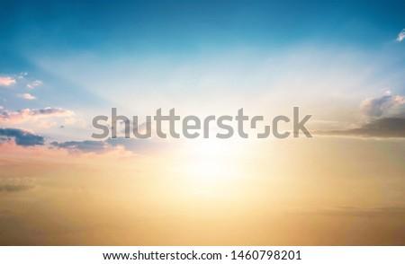World Tourism Day concept: Scenic of orange sunrise sky background