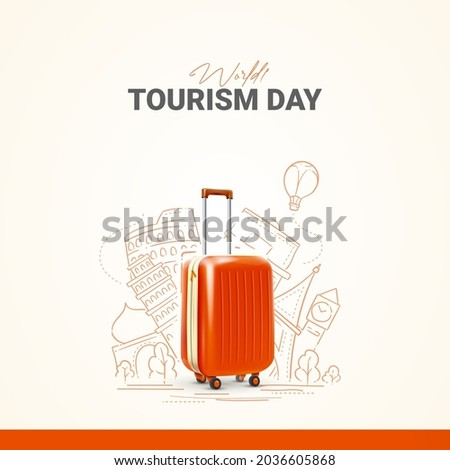 World Tourism Day. Travel suitcase concept 08