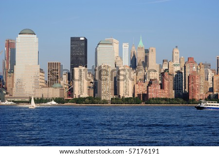 World Trade Center area of Manhattan and Hudson River.