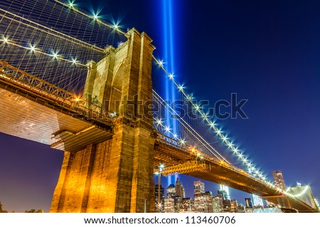 World Trade Center Lights over Brooklyn Bridge
