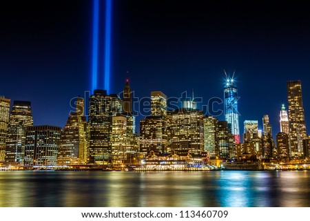 world trade center 911 lights...
