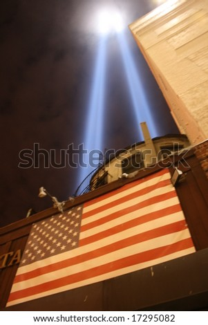 "World Trade Center ""Tribute in Light"" as seen from Lower Manhattan. - stock photo"