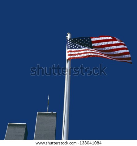 World Trade Center with American Flag,New York, USA