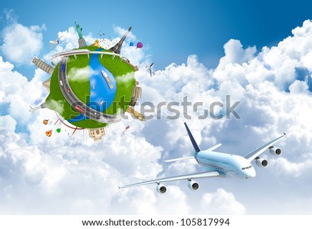 world travel globe concept with landmarks and plane flying above the clouds