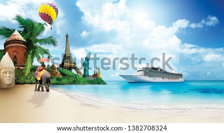 World travel icons with beautiful background and summer concept #1382708324