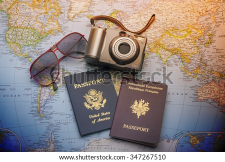 World travel with passports,sun glasses and camera