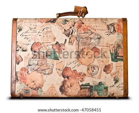 world travelers retro suitcase isolated over white