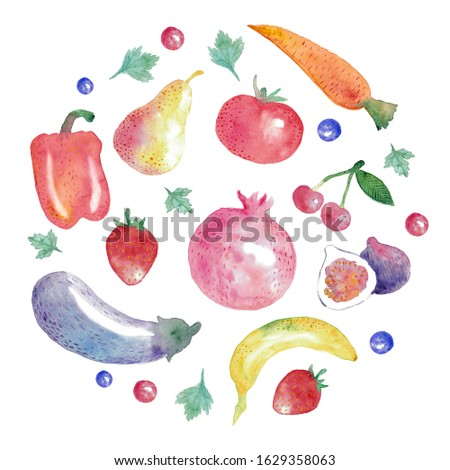 World Vegetarian Day. Vegetarian food and the inscription. Fruits, berries and vegetables: pear, eggplant, carrots, tomatoes, figs, bananas, paprika, cherries, strawberries.