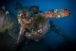 World war 2 biplane wreck in the south pacific