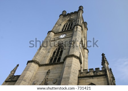 stock photo : World War 2 Bombed Out Church Spire in Liverpool