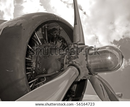 World War 2 era airplane engine and propeller