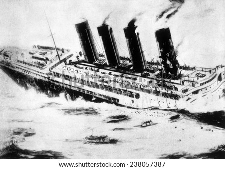 World War I, the Lusitania sinking off the coast of Ireland after being torpedoed by a German U-boat, May 7, 1915