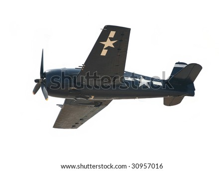 World War II American fighter plane isolated on white background