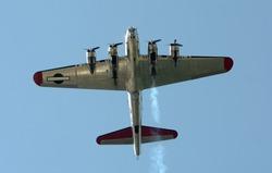 World War II era heavy bomber seen from below