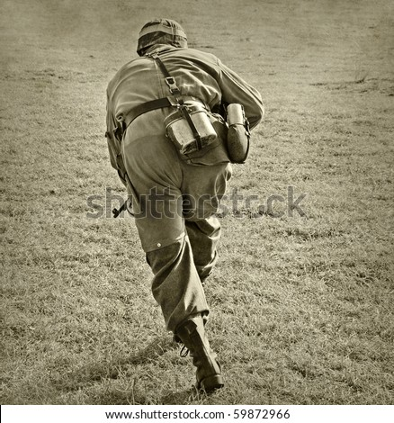 World War II era soldier on a battlefield